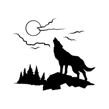 Wolf howls at the moon - forest landscape, Wildlife Stencils - mountain Silhouettes for Cricut, Wildlife clipart, png Cut file, vector, vinyl shirt design.
