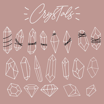 Set of various linear crystals, diamonds, gemstones, minerals, rhinestones, birthstones. Hand drawn. Abstract, spiritual, witchy, boho logo collection. Polygonal shapes. Vector geometric outline style