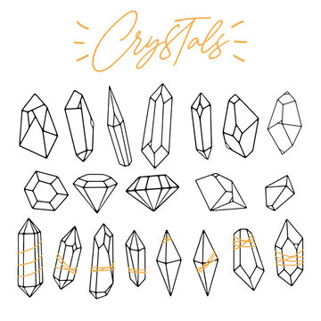 Set of various linear crystals, diamonds, gemstones, minerals, rhinestones, birthstones. Hand drawn. Abstract, spiritual, witchy, boho collection. Polygonal shapes. Vector geometric outline style