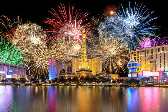 New Year celebration fireworks on Las Vegas strip, Nevada, USA.