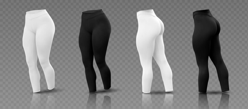 Women's leggings mockup in  different sides, black and white isolated on a gray background. 3D realistic vector illustration