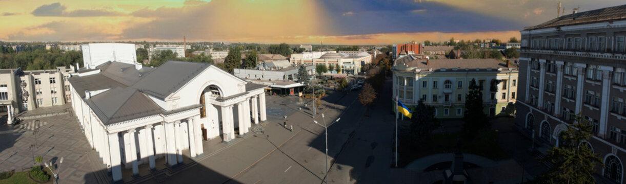 Aerial panorama of Shevchenko theater at day. Kryvyi Rih landmark