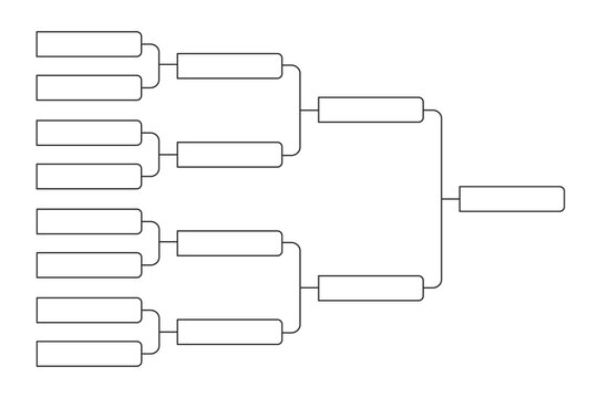 8 team tournament bracket championship template flat style design vector illustration isolated on white background. Championship bracket schedule for soccer, football, basketball, baseball or tennis.