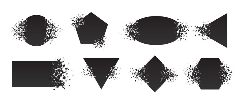 Shape shattered and explodes flat style design vector illustration set isolated on white background. Square rhombus, triangle, rectangle, hexagon, ellipse shapes in grayscale gradient explosion.