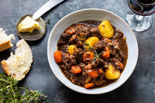 Classic dish of Beef bourguignon