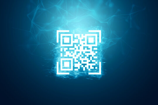 White QR code on a blue background new technologies. Electronic, digital technologies, scanning, barcode.
