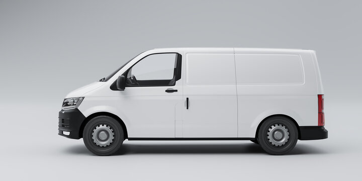 Isolated delivery van side view 3d illustration
