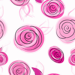 seamless floral background pattern, with abstract roses, hand drawn