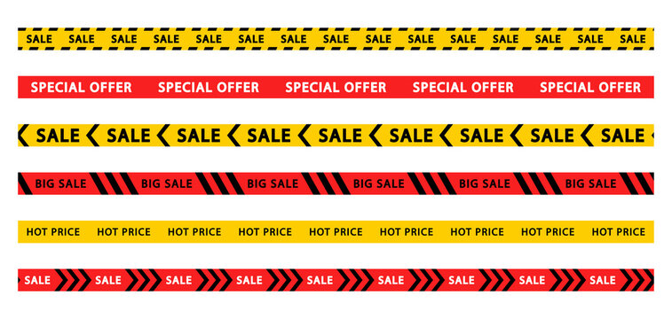 Set of discount and sale tapes. Big and mega sale stripes. Special offer. Red and yellow striped borders. Vector