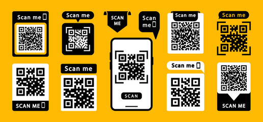 Fototapeta Set of QR codes with inscription scan me with smartphone. Scan qr code icon. Qr code for payment, mobile app and identification. Vector illustration.