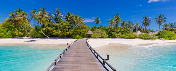 Maldives island beach. Tropical landscape of summer scenery, white sand with palm trees. Luxury travel vacation destination. Amazing beach landscape, jetty over stunning blue lagoon, idyllic nature