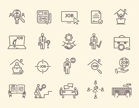 Set of remote work, find a job, employment, freelance and HR linear icons. Outline vector illustrations. Mono Line Pictograms and Infographics