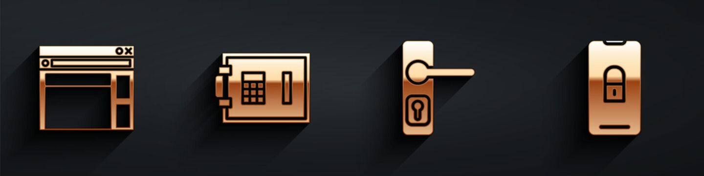 Set Website template, Safe, Door handle and Mobile with closed padlock icon with long shadow. Vector.