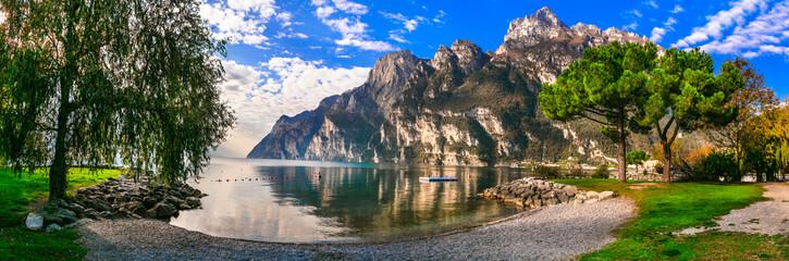 idyllic nature scenery. Wonderful lake Lago di Garda. Riva del Grada. Northern Italy,Trento