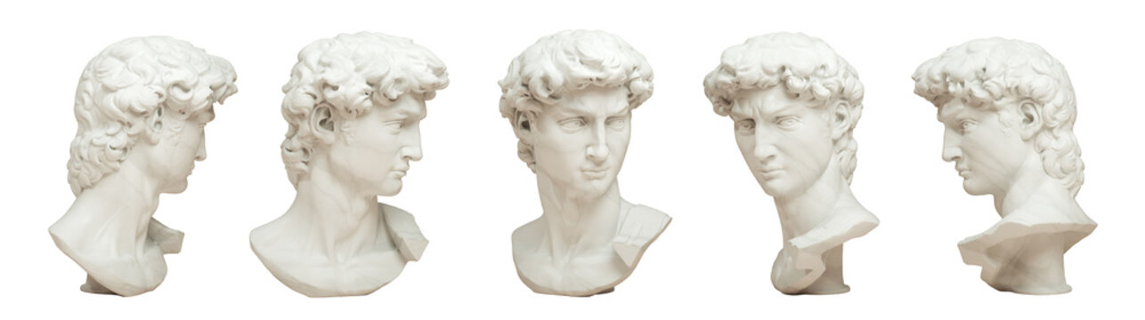 3D rendering illustration of Head of Michelangelo's David in 5 views isolated on white background.