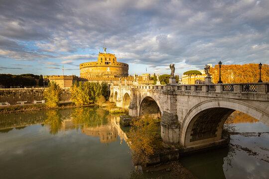 Sunset over Tiber river in Rome
