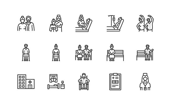 Elderly people and disabled flat line icons set. Vector illustration caring for the elderly. Nursing home and hospice service. Editable strokes.