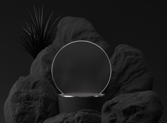 3D black palm,stone, rock podium display. Copy space circle  background. Cosmetics or beauty product promotion mockup.  Natural rough silver grey,  step pedestal. Trendy minimalist banner, 3D render  - fototapety na wymiar