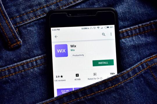 Delhi, india, May 13, 2019: wix web development platform application on smartphone, wix app on playstore