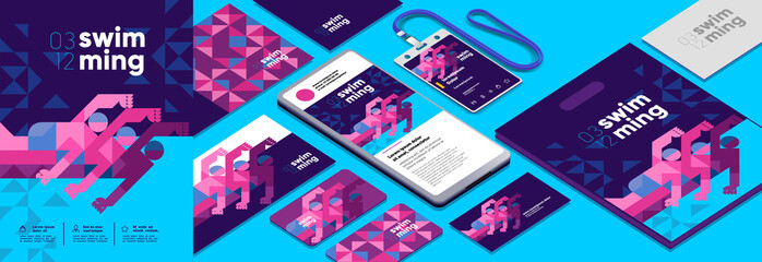 Fototapeta Vector illustration. Branding, corporate identity for swimming competitions. Abstract, background patterns, triangular mosaics, stylized polygonal images, geometric backgrounds, large width. obraz