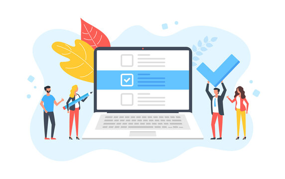 Checklist. Group of people and laptop with check list on screen. Online survey, complete tasks, to-do list, success, filling form, questionnaire concepts. Modern flat design. Vector illustration