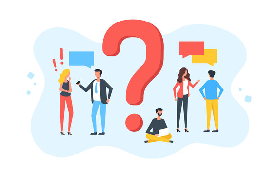 Question. Group of talking people with speech bubbles and giant question mark. Customer service, frequently asked questions, technical support, FAQ concepts. Modern flat design. Vector illustration