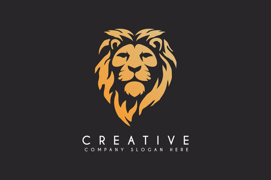 lion vector logo design isolated on black background