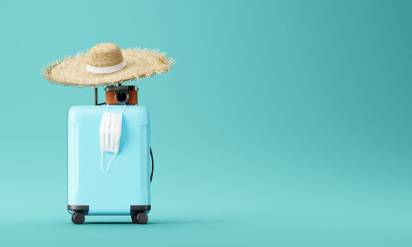 blue suitcase with face mask and travel accessories  on blue background. 3d rendering