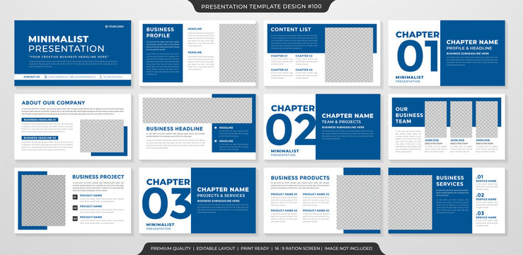 minimalist presentation template with simple and clean layout use for business profile and annual report