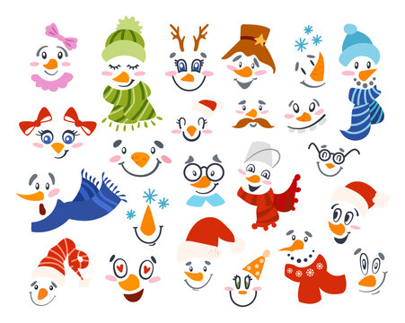 Christmas Snowman face clipart - cute boys and girls faces with hat, scarf, smoke pipe, tie, and glasses, cartoon winter characters isolated on white background, vector illustration for kids