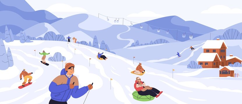 People snowboarding and riding tubing at ski resort. Skiers and snowboarders rolling from snowy mountain slope. Outdoor winter sports activities. Colored flat vector illustration