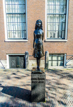 Anne Frank statue located on Westerkerk Plaza near the Anne Frank House.Amsterdam, The Netherlands