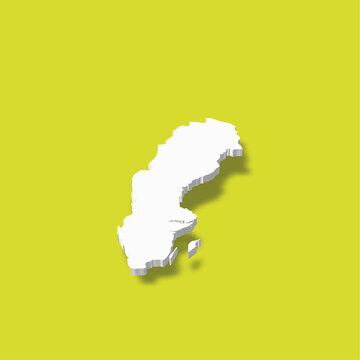 Sweden - white 3D silhouette map of country area with dropped shadow on green background. Simple flat vector illustration