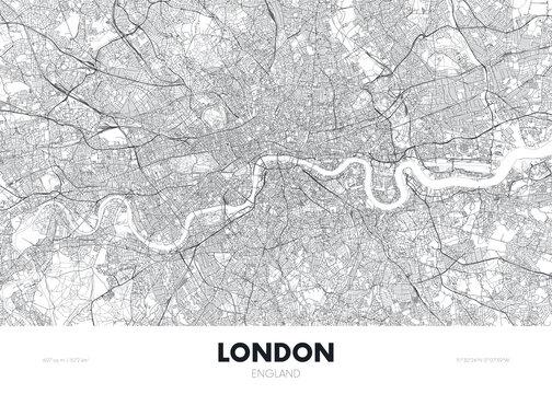 City map London England, travel poster detailed urban street plan, vector illustration