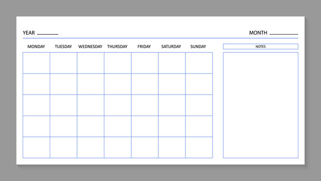 Month planner template. Blank calendar for 2021 year. Page for agenda. Calender with grid on wall. A4 planner for month and year. Organizer with days of week for planning. Schedule of work. Vector