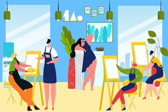 Group students paint picture woman in art class, vector illustration. Indoors young artists with easel, brush, palette trained in fine arts. Creative hobby, beautiful lifestyle concept.