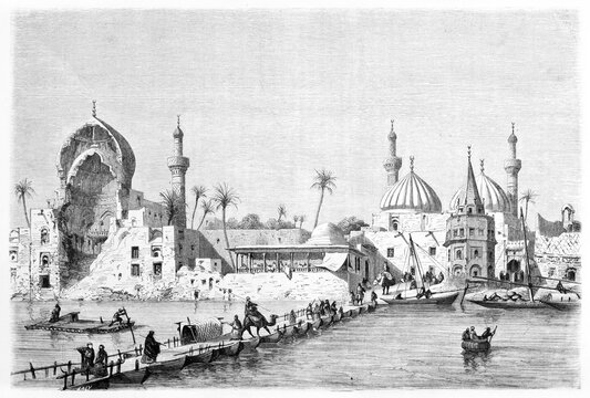 pontoon bridge on river in Baghdad warm cityscape with arabian architecture houses. Ancient grey tone etching style art by Rord�, Le Tour du Monde, 1861