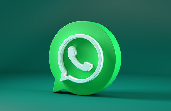WhatsApp icon isolated on green background. 3D Illustration