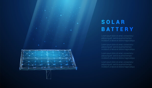 Abstract blue solar battery, solar panel, renewable energy