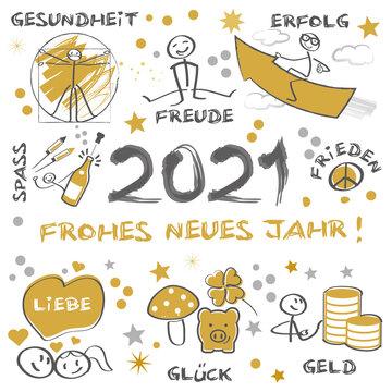 2021 - Frohes neues Jahr - Neujahrsgruß mit wünschen - deutscher Text - gold und schwarz