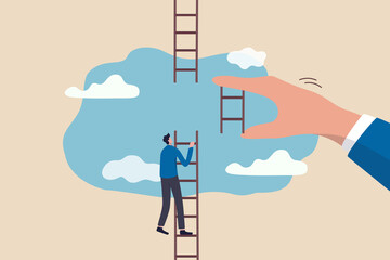 Fototapeta Helping hand, business support to reach career target or help to climb up ladder of success concept, businessman climbing up to top of broken ladder with huge helping hand to connect to reach higher. obraz
