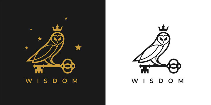 Owl with key and crown logo icon. Concept wisdom symbol. knowledge sign. Vector illustration.