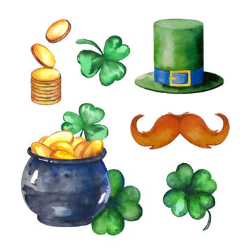 Vector illustration for the celebration of St. Patrick's Day. Set of watercolor stickers. Three leaf and four leaf clover, pot of gold coins, hat and a silhouette of a leprechaun with a red beard.