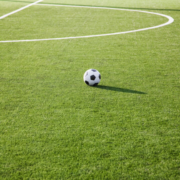 Soccer ball on a soccer field.
