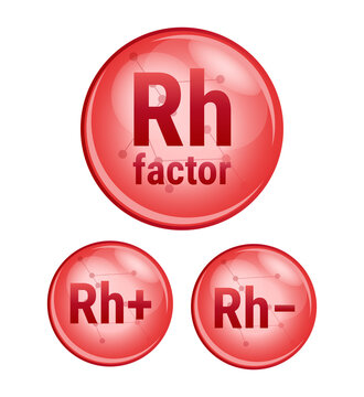 Vector set of red icons isolated on white. Rh factor, Rh+, Rh− from blood group system. Rh factor determines blood type. Rhesus factor. Rh-positive, Rh-negative, where the blood contains d antigens.