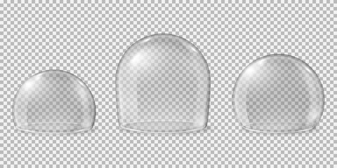 Fototapeta Glass domes. Transparent spheres, clean kitchen glossy display for food. Isolated realistic crystal protection empty caps recent vector set. Illustration glass dome, sphere exhibition model