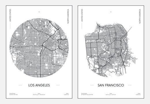 Travel poster, urban street plan city map Los Angeles and San Francisco, vector illustration