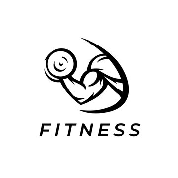 Gym logo. Power fitness icon. Bodybuilding bicep muscle strength symbol. Dumbbell curl sign. Vector illustration.