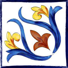 Mattonella artistica in ceramica di Caltagirone