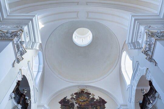 HRADEC KRÁLOVÉ, CZECH REPUBLIC - DECEMBER 10, 2020: Church of the Assumption of the Virgin Mary in the historic city center. Hradec Králové is a large city in the Hradec Králové Region in Bohemia